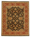 RugStudio presents Jaipur Rugs Atlantis Taj AL12 Ebony/Red Hand-Knotted, Good Quality Area Rug