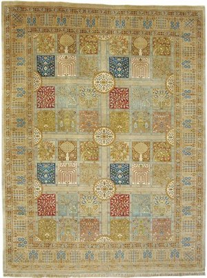RugStudio presents J. Aziz Haj Jalili V-1685 Sand / Royal Hand-Knotted, Best Quality Area Rug