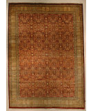 RugStudio presents J. Aziz Haj Jalili V-1603 Maroon / Gold Hand-Knotted, Good Quality Area Rug