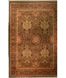 RugStudio presents J. Aziz Shah Abbas FLORAL Black / Gold Hand-Knotted, Good Quality Area Rug
