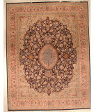 RugStudio presents J. Aziz Shah Abbas FLORAL Blue / Salmon Hand-Knotted, Good Quality Area Rug