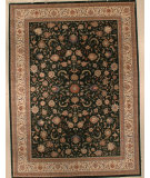 RugStudio presents J. Aziz Indo-Kashan Floral Emerald- Ivory 86862 Hand-Knotted, Good Quality Area Rug