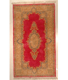 RugStudio presents J. Aziz Kerman Medallion Open Field Rose-Tan 86868 Hand-Knotted, Best Quality Area Rug