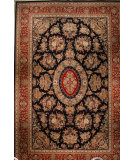 RugStudio presents J. Aziz Shah Abbas 105 QUM Navy Blue / Red Hand-Knotted, Good Quality Area Rug