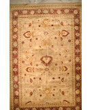 RugStudio presents J. Aziz Haj Jalili V-1635 Gold / Wine Hand-Knotted, Good Quality Area Rug