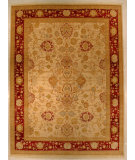 RugStudio presents J. Aziz Shah Abbas Antiqued V-1663 Ivory-Red 86739 Hand-Knotted, Good Quality Area Rug