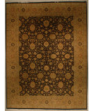 RugStudio presents J. Aziz Shah Abbas 1603 Black/Gold Hand-Knotted, Good Quality Area Rug