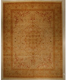 RugStudio presents J. Aziz Haj Jalili V-1685 Ivory / Rust Hand-Knotted, Good Quality Area Rug