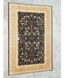 RugStudio presents J. Aziz Peshawar Ult-170 Black-Gold 86966 Hand-Knotted, Good Quality Area Rug