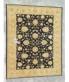 RugStudio presents J. Aziz Peshawar Ult-542 Black-Beige 86997 Hand-Knotted, Good Quality Area Rug