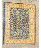 RugStudio presents J. Aziz Peshawar Ult-592 Blue-Beige 87006 Hand-Knotted, Good Quality Area Rug