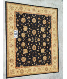 RugStudio presents J. Aziz Peshawar Ult-289 Black-Beige 86980 Hand-Knotted, Good Quality Area Rug