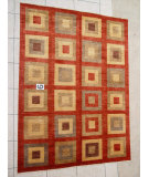 RugStudio presents J. Aziz Peshawar Novelty Red- 86921 Hand-Knotted, Good Quality Area Rug