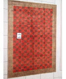RugStudio presents J. Aziz Peshawar Novelty Red- 86922 Hand-Knotted, Good Quality Area Rug