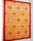 RugStudio presents J. Aziz Peshawar Novelty Gold- 86901 Hand-Knotted, Good Quality Area Rug