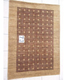 RugStudio presents J. Aziz Peshawar Novelty LightBrown- 86919 Hand-Knotted, Good Quality Area Rug