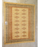RugStudio presents J. Aziz Peshawar Novelty Beige- 86875 Hand-Knotted, Good Quality Area Rug