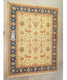 RugStudio presents J. Aziz Peshawar Ult-634 Beige-Blue 87008 Hand-Knotted, Good Quality Area Rug
