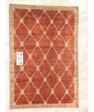 RugStudio presents J. Aziz Peshawar Novelty Brown- 86893 Hand-Knotted, Good Quality Area Rug