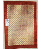 RugStudio presents J. Aziz Peshawar Novelty Red- 86924 Hand-Knotted, Good Quality Area Rug