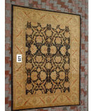 RugStudio presents J. Aziz Peshawar Ult-181 Black-Gold 86973 Hand-Knotted, Good Quality Area Rug