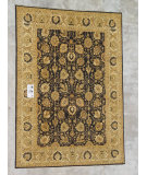 RugStudio presents J. Aziz Peshawar Ult-167 Black-Beige 86961 Hand-Knotted, Good Quality Area Rug