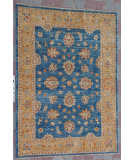 RugStudio presents J. Aziz Peshawar Ult-746 Blue-Gold 87030 Hand-Knotted, Good Quality Area Rug
