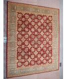 RugStudio presents J. Aziz Peshawar Ult-182 Burgundy- soft blue 86975 Hand-Knotted, Good Quality Area Rug