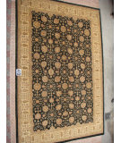 RugStudio presents J. Aziz Peshawar Ult-110 Black-Beige 86928 Hand-Knotted, Good Quality Area Rug