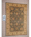 RugStudio presents J. Aziz Peshawar Ult-561 Gray-Beige 87005 Hand-Knotted, Best Quality Area Rug