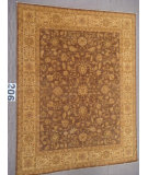 RugStudio presents J. Aziz Peshawar Ult-Haj Brown-Beige 87049 Hand-Knotted, Good Quality Area Rug