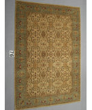 RugStudio presents J. Aziz Peshawar Ult-Tab Beige-SoftBlue 87055 Hand-Knotted, Good Quality Area Rug