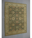 RugStudio presents J. Aziz Peshawar Ult-137 Green-Beige 86947 Hand-Knotted, Good Quality Area Rug