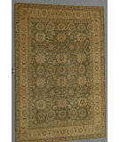 RugStudio presents J. Aziz Peshawar Ult-137 Green-LtBrown 86949 Hand-Knotted, Good Quality Area Rug