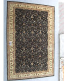 RugStudio presents J. Aziz Peshawar Ult-918 Black-Beige 87047 Hand-Knotted, Good Quality Area Rug