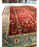 RugStudio presents J. Aziz Antique Repro Floral Red Hand-Knotted, Good Quality Area Rug