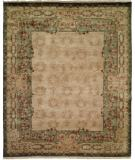 RugStudio presents Kalaty Riviera Rv509 Ivory/Green Hand-Knotted, Best Quality Area Rug