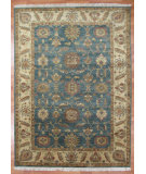 RugStudio presents Kalaty Oak 279383 Blue Ivory Hand-Knotted, Good Quality Area Rug