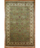 RugStudio presents Kalaty Oak 298924 Light Green Ivory Hand-Knotted, Good Quality Area Rug
