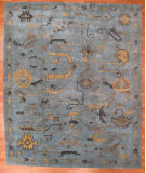 RugStudio presents Kalaty Oak 357385 Light Blue Hand-Knotted, Good Quality Area Rug