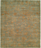 RugStudio presents Famous Maker Carolton 100900 Aqua Leaf Hand-Knotted, Best Quality Area Rug