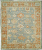 RugStudio presents Famous Maker Kozoa 100124 Stone Blue - Rust Hand-Knotted, Good Quality Area Rug