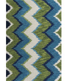 RugStudio presents KAS Anise 2420 Blue/Green Chevron Hand-Hooked Area Rug