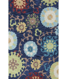 RugStudio presents KAS Anise 2422 Navy Courtney Hand-Hooked Area Rug