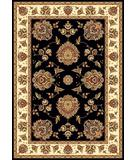 RugStudio presents Kas Cambridge Floral Mahal Black-Ivory 7339 Machine Woven, Good Quality Area Rug