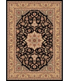RugStudio presents Kas Cambridge Kashan Medallion 7327 Black Beige Machine Woven, Good Quality Area Rug