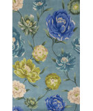 RugStudio presents KAS Catalina 753 Blue Floral Oasis Hand-Tufted, Good Quality Area Rug
