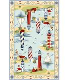 RugStudio presents Kas Colonial Light House Views Light Blue 1800 Hand-Hooked Area Rug