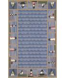 RugStudio presents Kas Colonial Lighthouse Waves Blue 1802 Hand-Hooked Area Rug