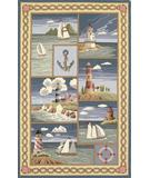 RugStudio presents Kas Colonial Costal Views Blue 1806 Hand-Hooked Area Rug